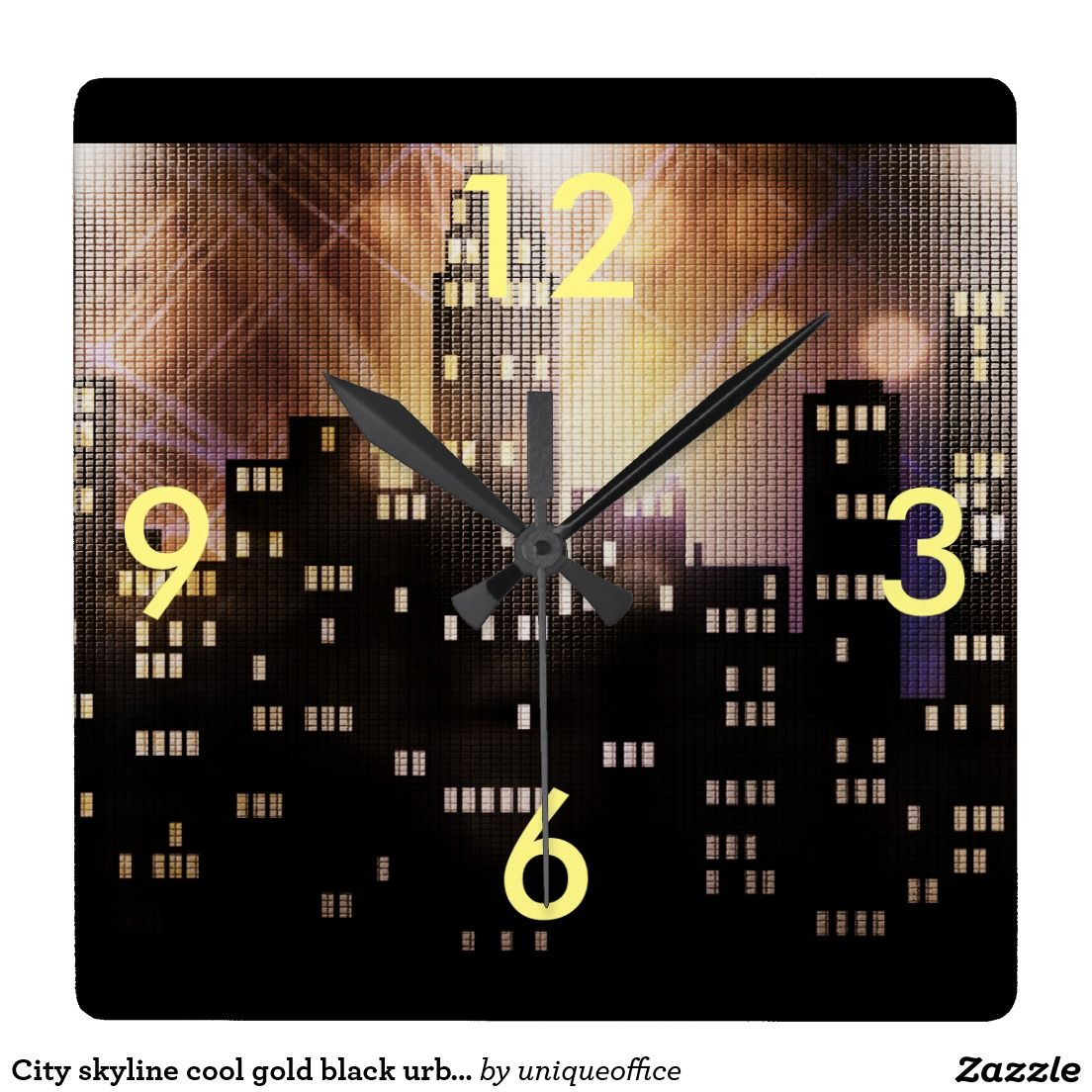 City skyline cool gold black urban office square wall clock