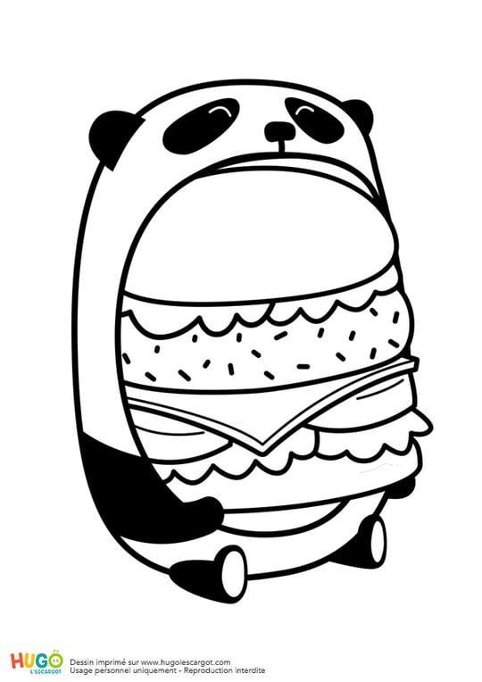 Le Burger Du Panda En Mode Kawaii Coloriage Kawaii Dessin
