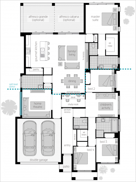 Portofino Floorplan By Mcdonald Jones Break Out Of The Everyday With This Nextgen Home With Multiple Living Sp New House Plans House Plans Beach House Plans