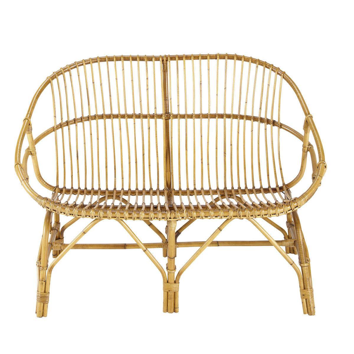 Vintage Sitzbank 2 Sitzer Rattan Pétunia