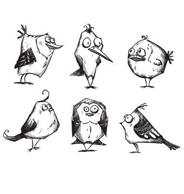 funny cartoon birds hand drawn vector by kamenuka on vectorstock