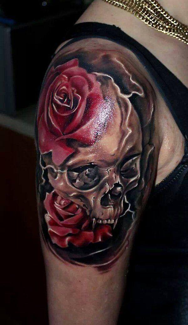 100 Awesome Skull Tattoo Designs Cuded Skull Rose Tattoos Skull Tattoo Design Skull Sleeve Tattoos
