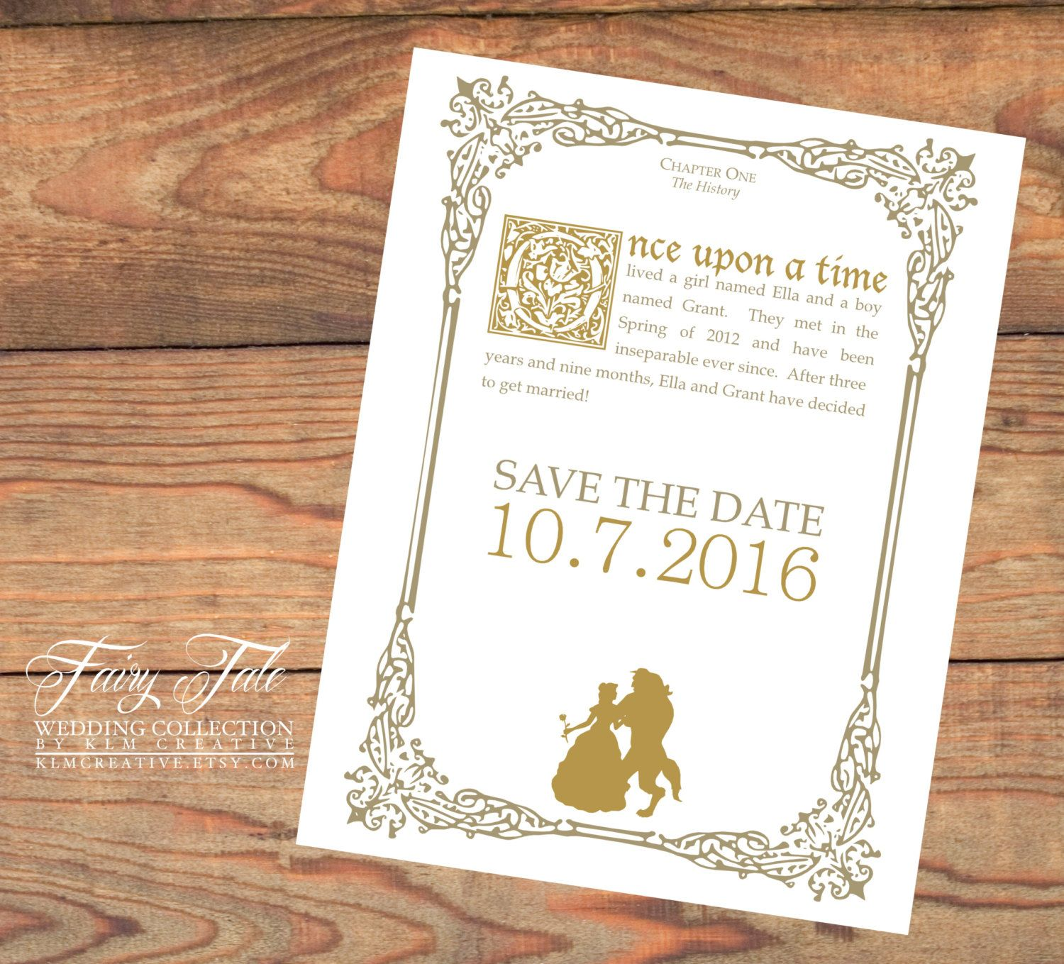 fairy tale wedding collection beauty and the beast elegant storybook save the date postcard by - Beauty And The Beast Wedding Invitations