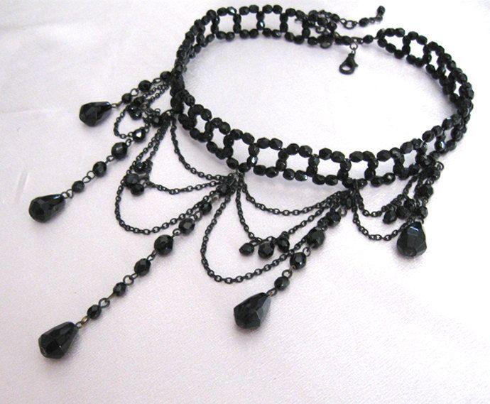 fashionjewellery4u Black Bead Velvet Flower Choker Necklace Goth Fancy Dress Burlesque Jewellery for Women Girls Ladies
