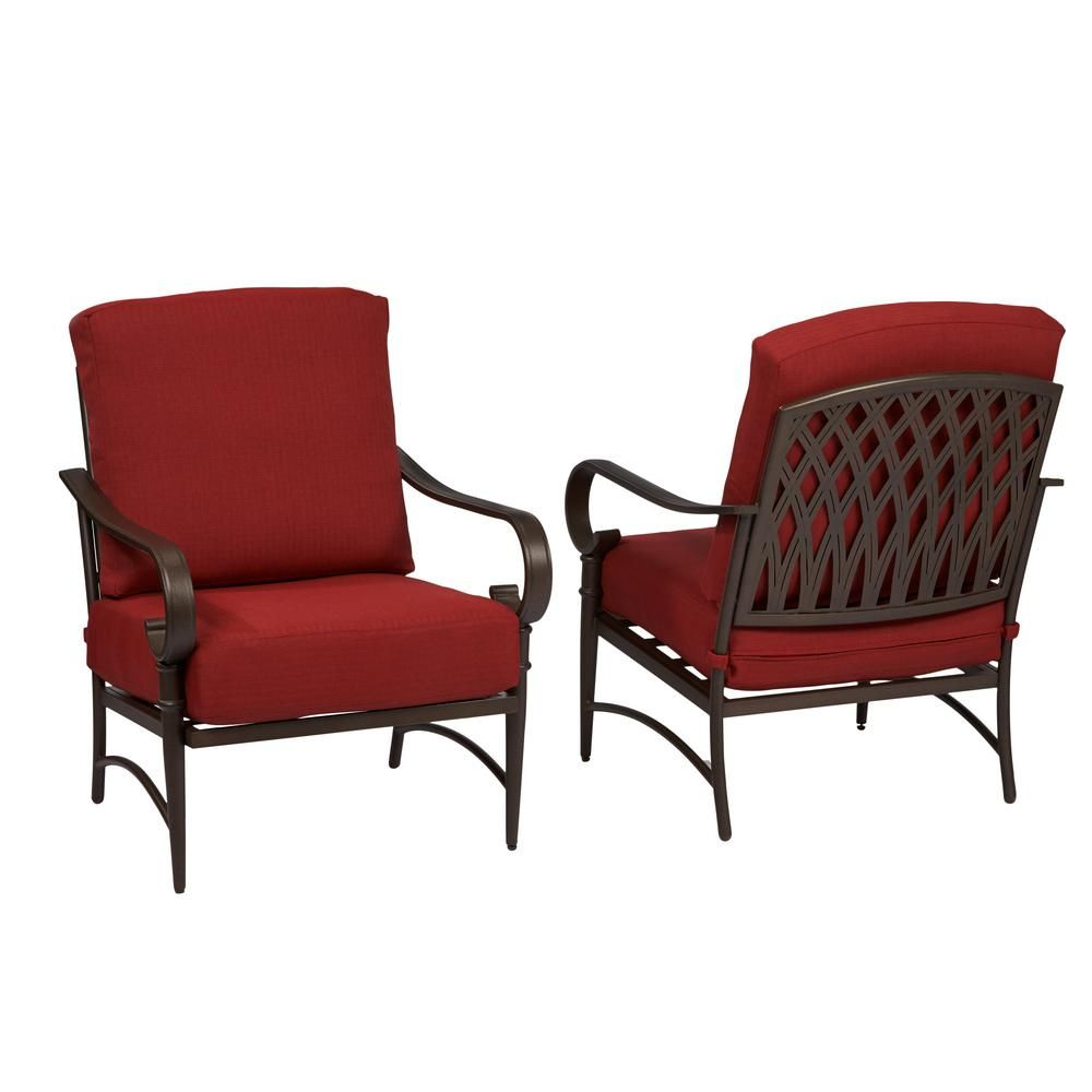 Hampton Bay Oak Cliff Stationary Metal Outdoor Lounge Chair With Chili Cushion 2 Pack