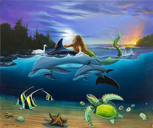 Wyland and Warren Mermaids Pinterest - marine biologist job description