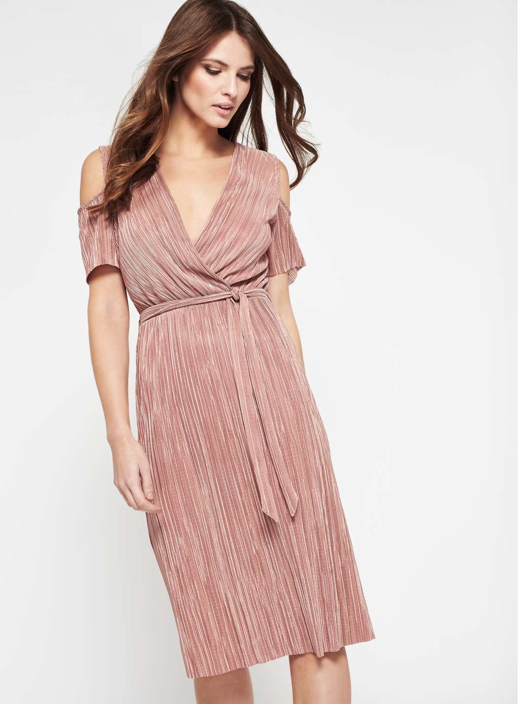 Pink Plisse Cold Shoulder Dress | dress | Pinterest
