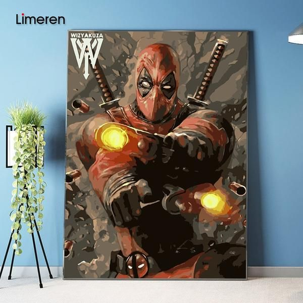 Picture On Wall Acrylic Deadpool Avenger Oil Painting Drawing By Numbers Abstract Gift Diy Amazing Coloring By Numbers Canvas Oil Painting Painting Drawing Painting