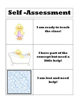 Self Assessment Poster And Desk Templates  Student Self