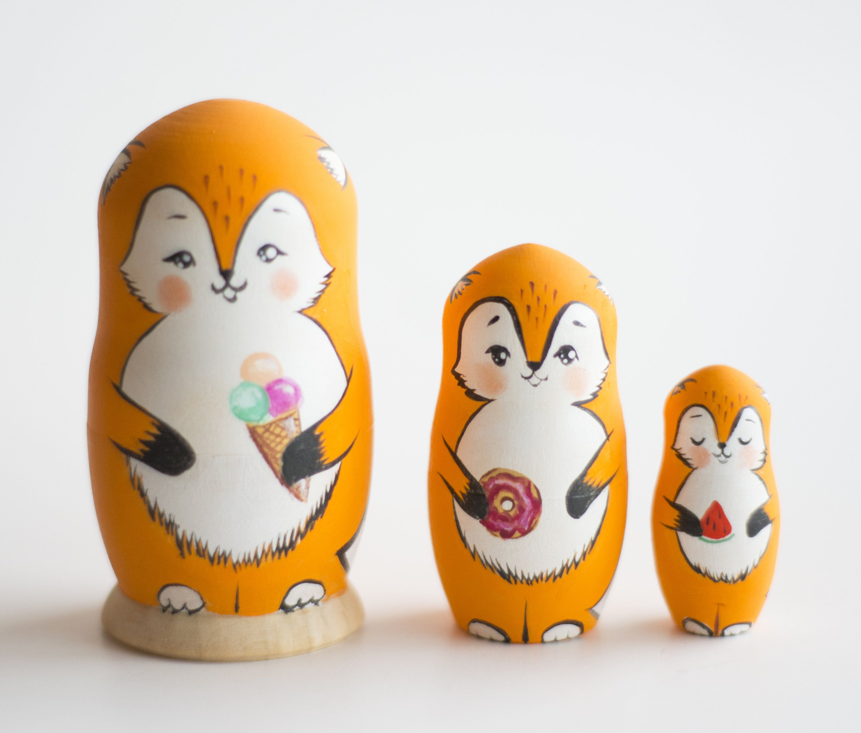 Hand Painted Russian Nesting Dolls Animal Babushka Matryoshka Woodcraft Toy Gift