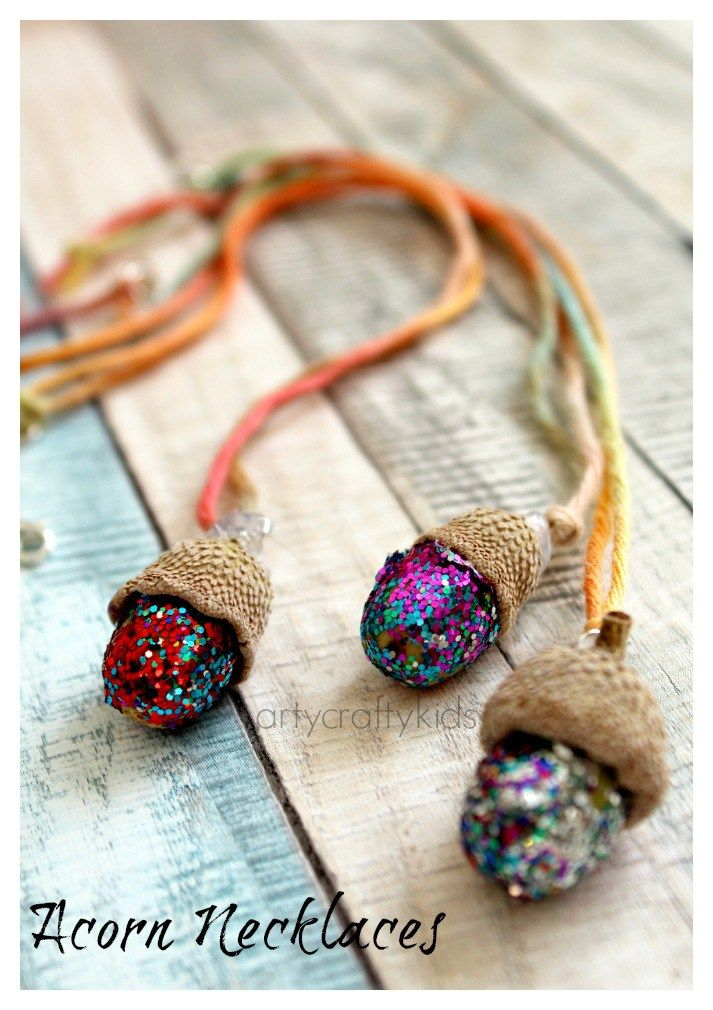 Acorn Necklaces Kids Nature Craft Crafts For Kids