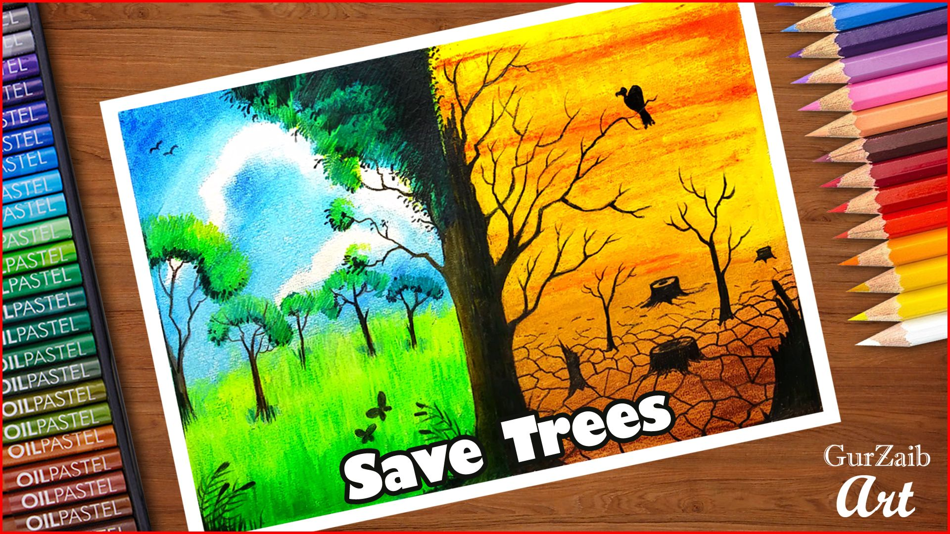 How To Draw Save Trees Poster Chart For School Students Very Easy