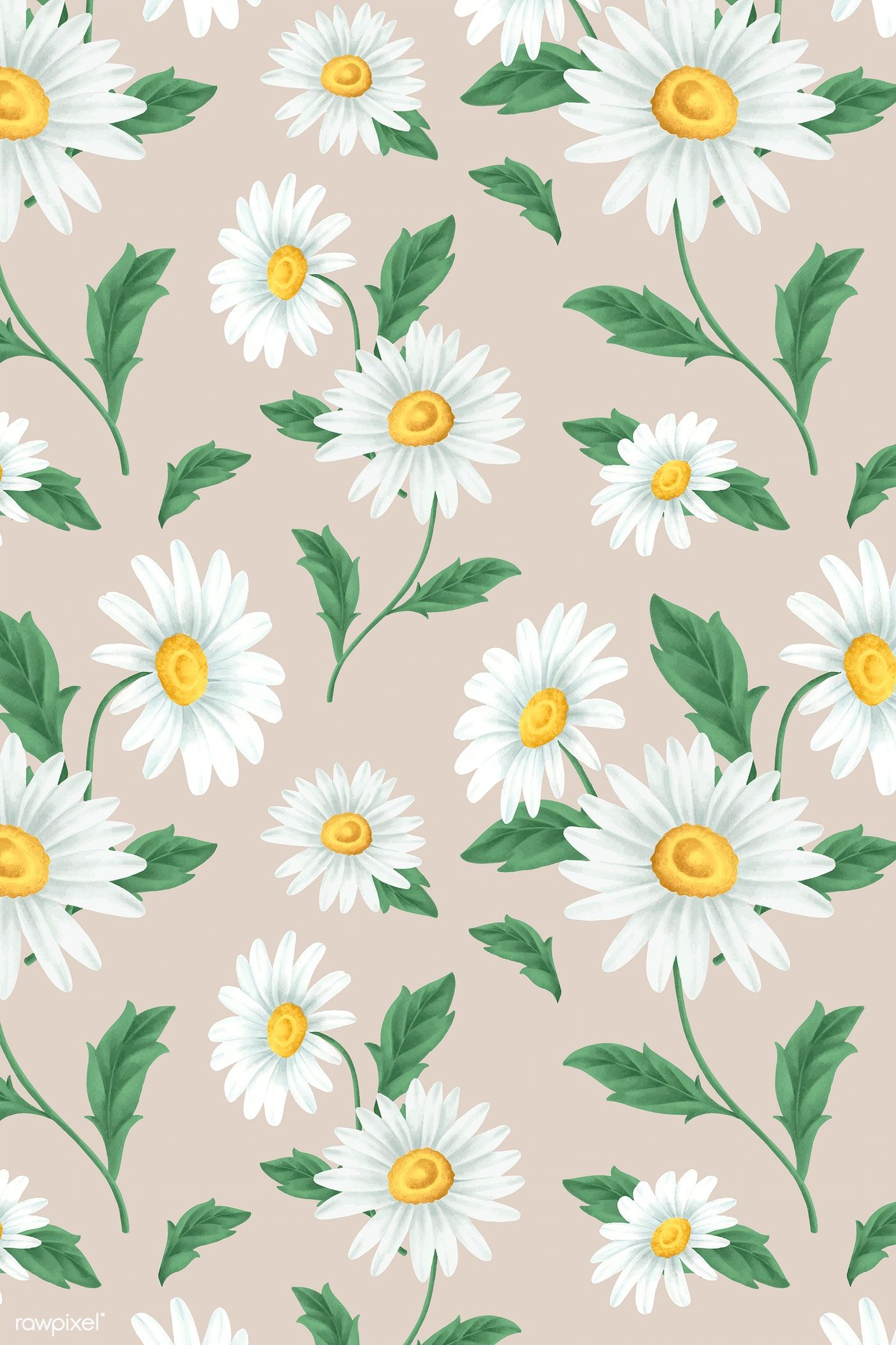 Download Premium Vector Of White Daisy Flower Seamless Patterned Daisy Painting Flower Background Wallpaper Daisy Wallpaper