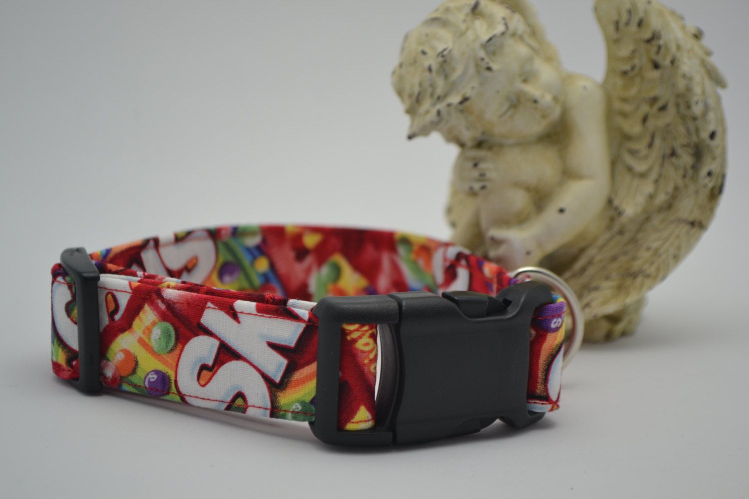 Skittles Print Pet Dog Collar, Fun for Everyone , Pet Supplies, Adjustable Pet Collar by HaleysPetBoutique.etsy.com