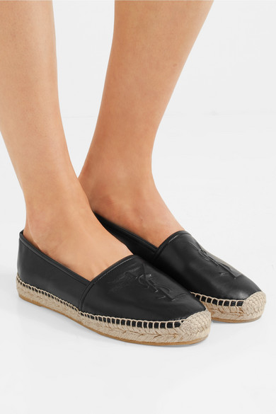 97c40f57c Sole measures approximately 10mm/ 0.5 inches Black textured-leather Slip on  Made in Spain