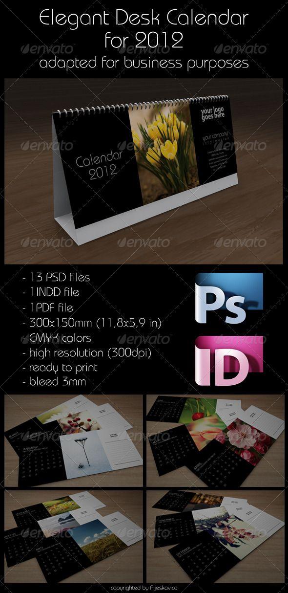 Elegant Desk Calendar for 2012 v10 Desk calendars, Print