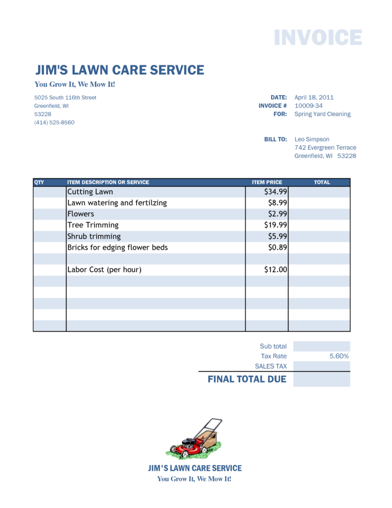 Service Invoices Templates Free and 28 Free Lawn Care ...