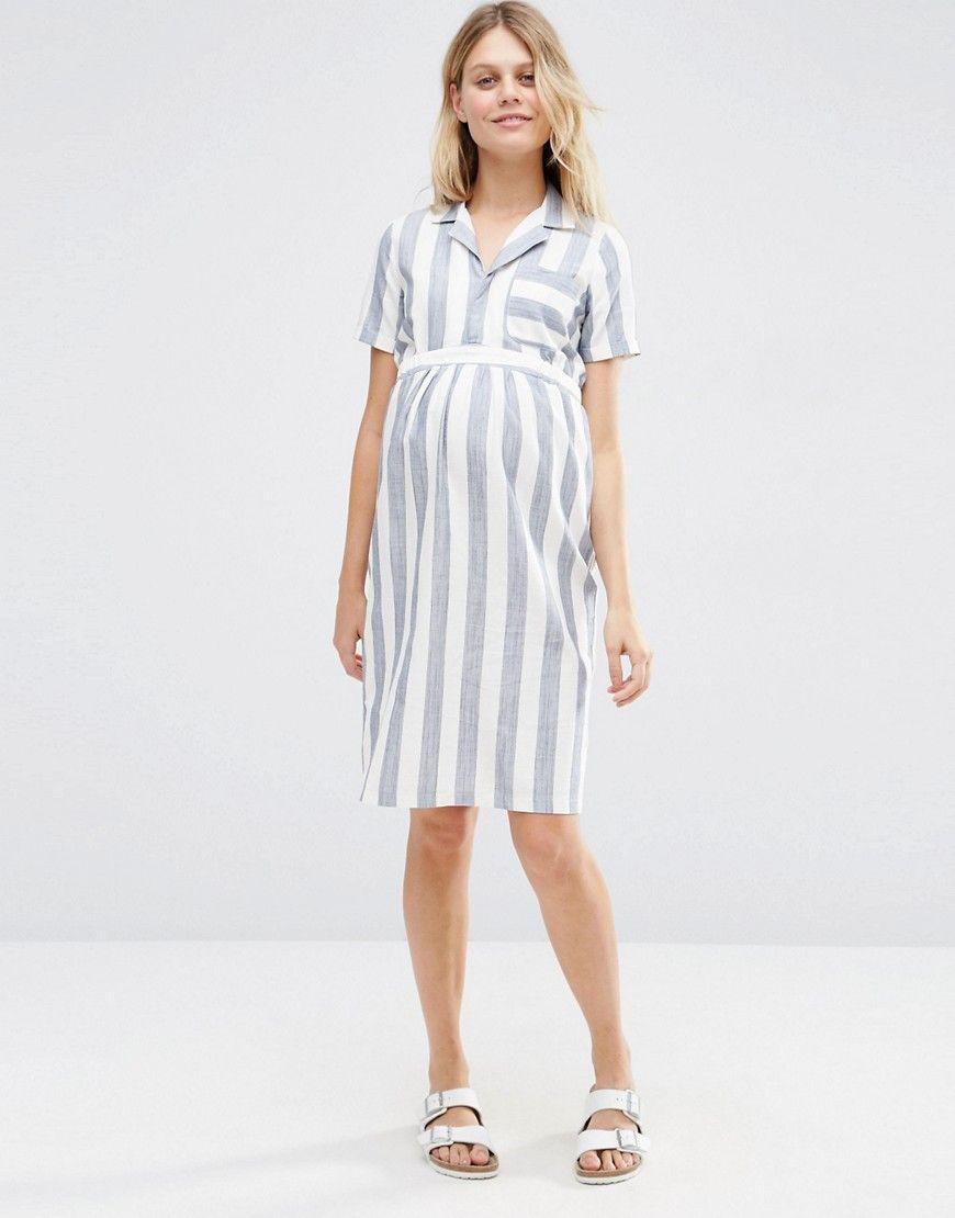 18fd729cae928 ASOS Maternity Shirt Dress In Linen Stripe | Kid(s) | Maternity ...