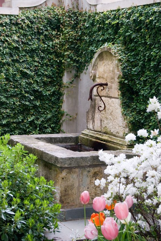 Image Result For Wall Garden Fountain Stone With Flowers | Deco