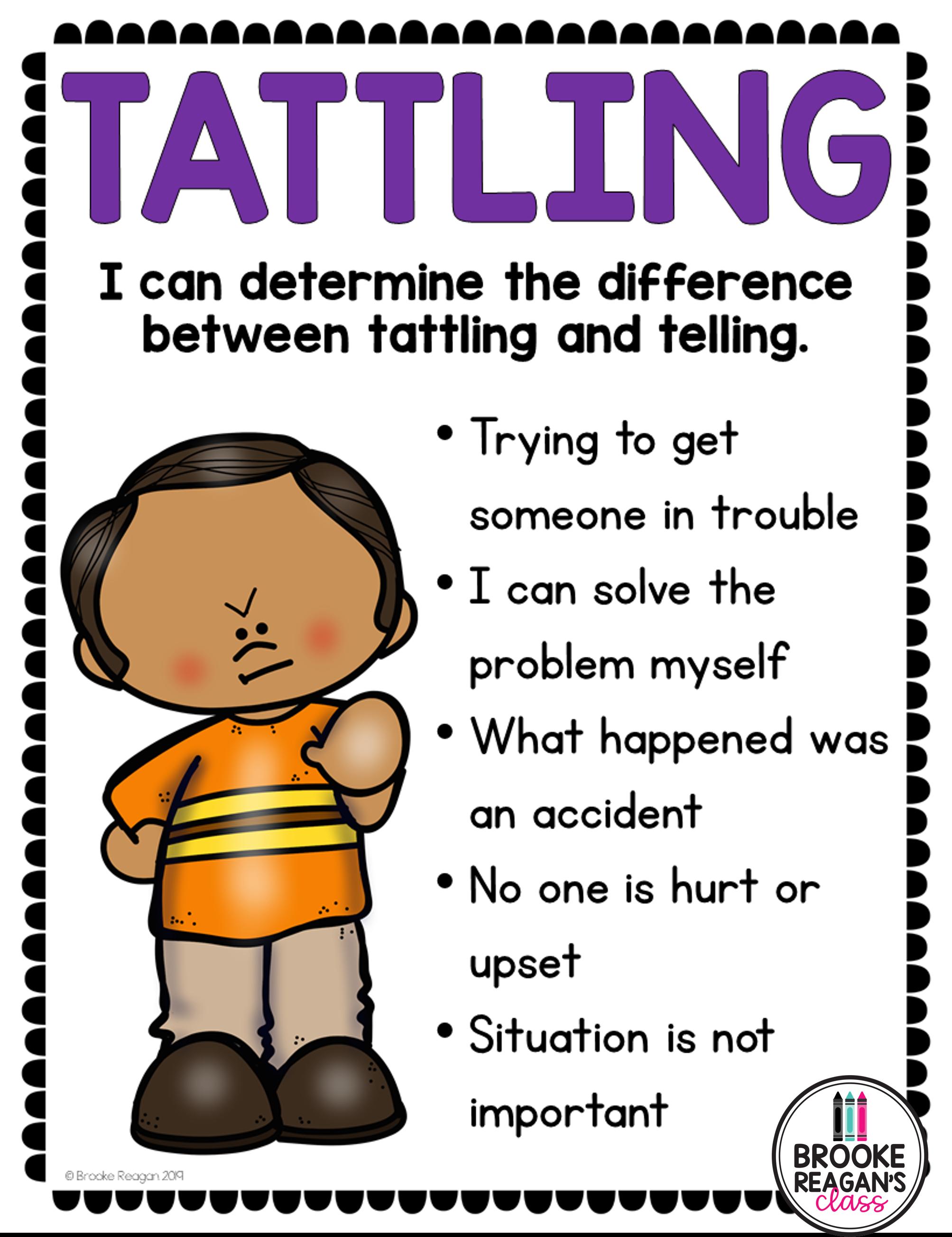 Social Skills Lesson Tattling Vs Telling In