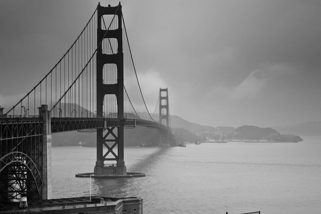 The Golden Gate Bridge Black And White And Grey I Live
