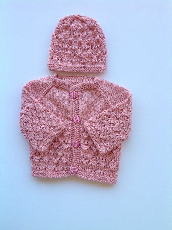 fdca82353153 Hand knitted baby sweater- cardigan and hat set 0-3 month old girl ...