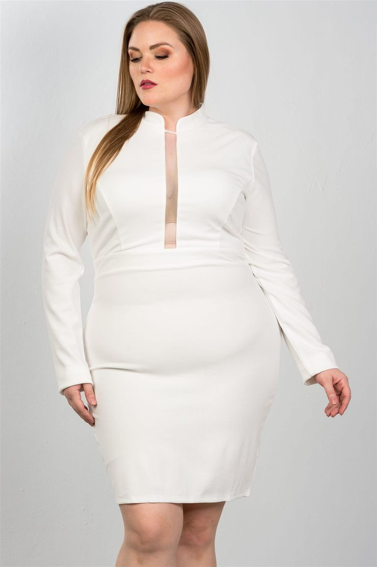 1d5091a88c2d Just Viva-Imported 1XL.2XL.3XL long sleeves, high neckline, mesh insert at  center front, back zipper and hook-and-eye closure, knee length, bodycon  length, ...