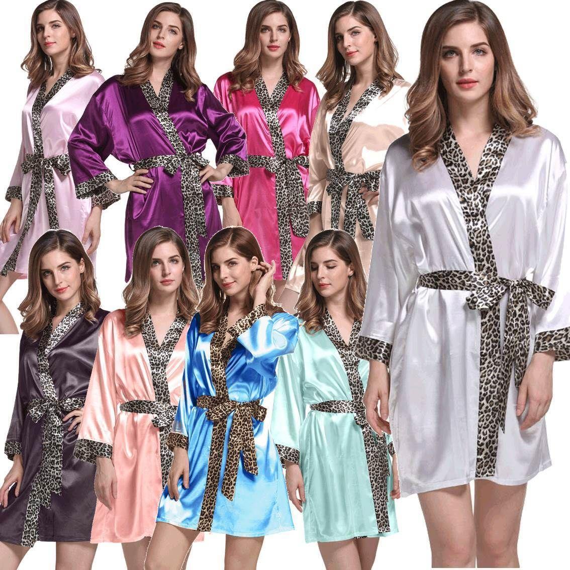 Bridal Party Robes Leopard Trim Satin Kimono Gowns