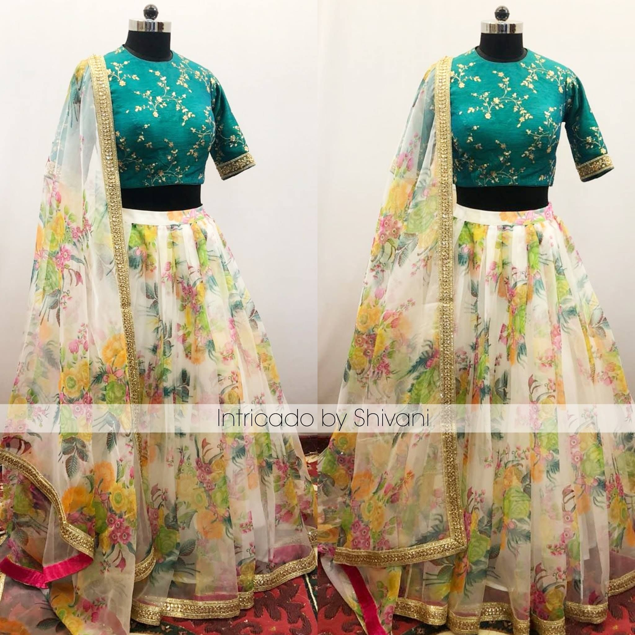 ad3744b77a8c42 Floral lehenga in silk organza ?? Beautiful half white color lehenga with  floral print. High neck blouse with floral design hand embroidery work.