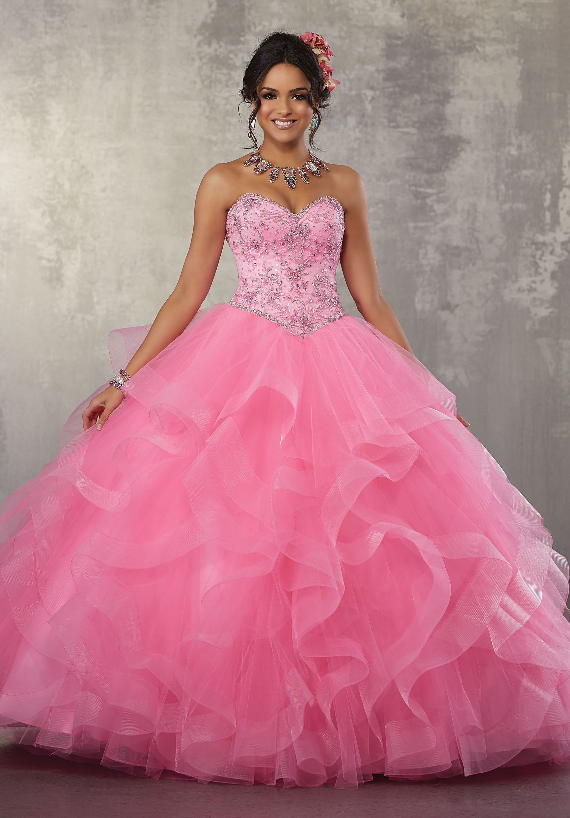 Strapless Ruffled Quinceanera Dress by Mori Lee Vizcaya 89166 ...
