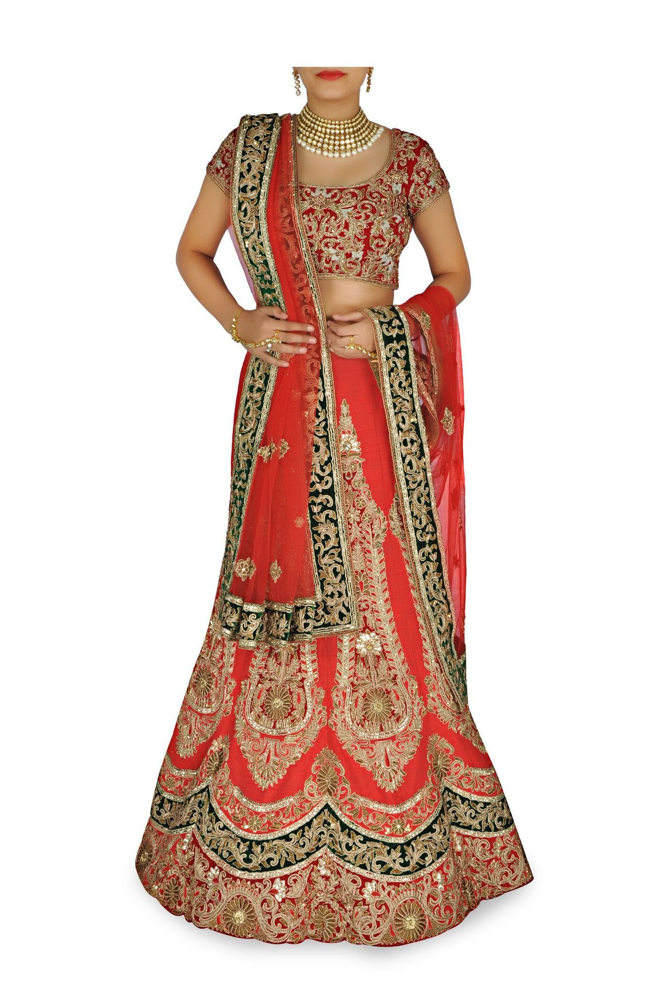 3b394feb338d Featuring a Tomato red silk lehenga with zari embroidered applique designs  all over; scalloped design at the hem. Matching red embroidered blouse and  net ...