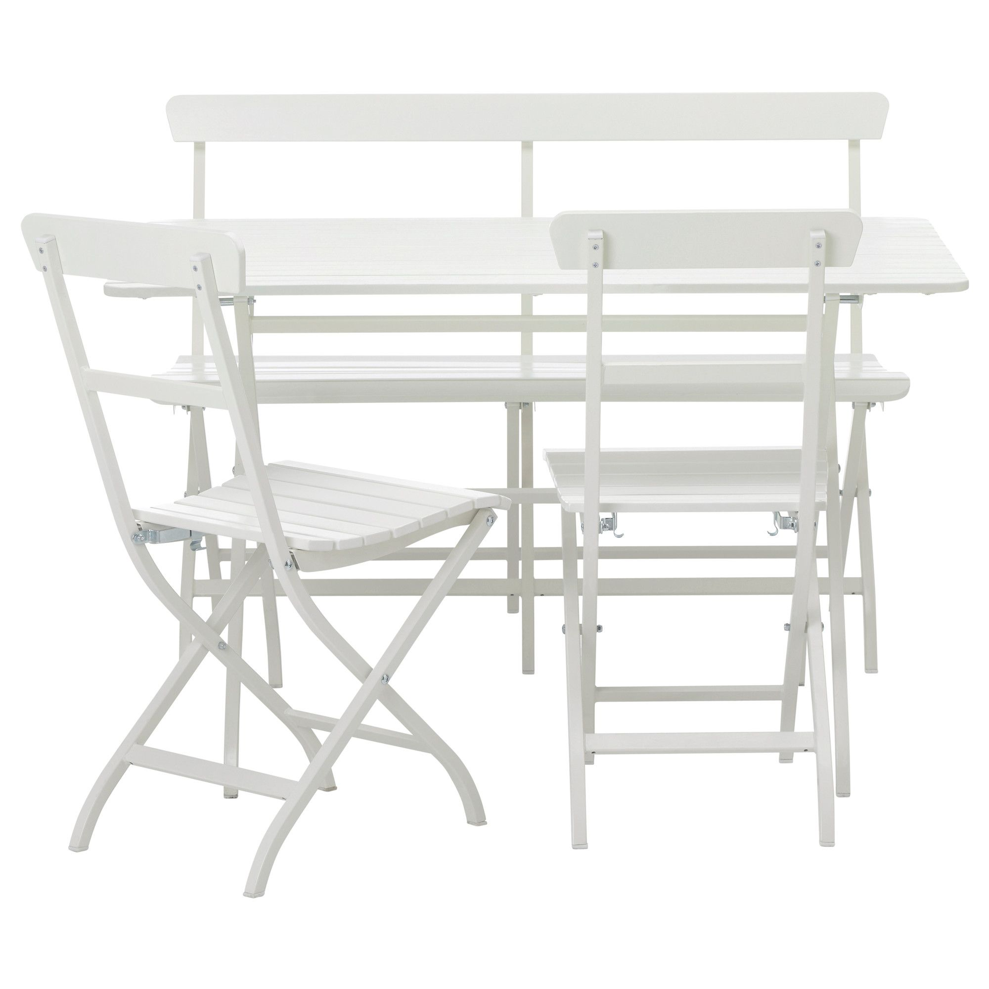 Quaint outdoor dining set in classic white