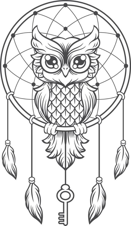 Mandalas Para Colorear Chispis Com Owl Coloring Pages Black And White Owl Owl Dream Catcher