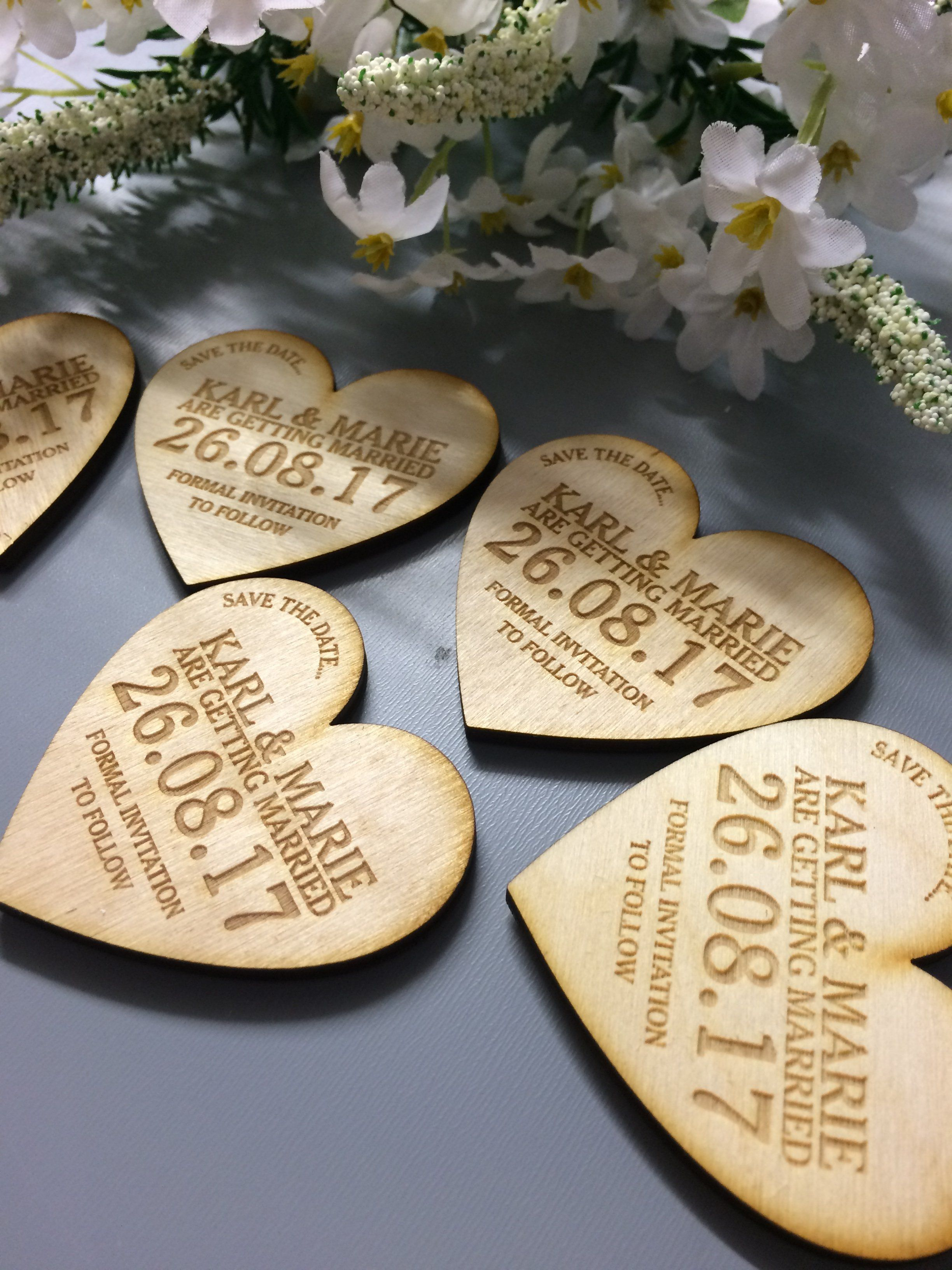 Love Heart Save The Date Wood Save the date