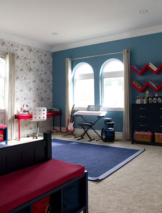 Kids Room Wallpaper Designs: Cameron's Contemporary Room With Graphic Wallpaper