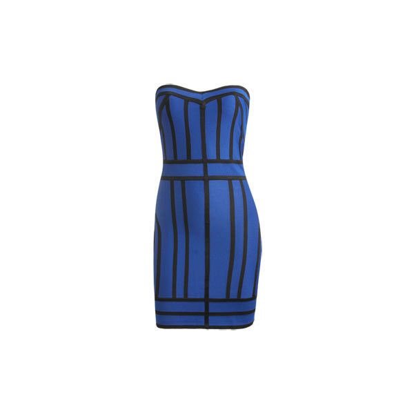 Colorblock Bandage Tube Dress - Women's Clothing and Apparel - Chic... ($79) ❤ liked on Polyvore featuring dresses, blue dresses, block print dresses, color block dress, denim tube dress, tube dresses and denim dresses