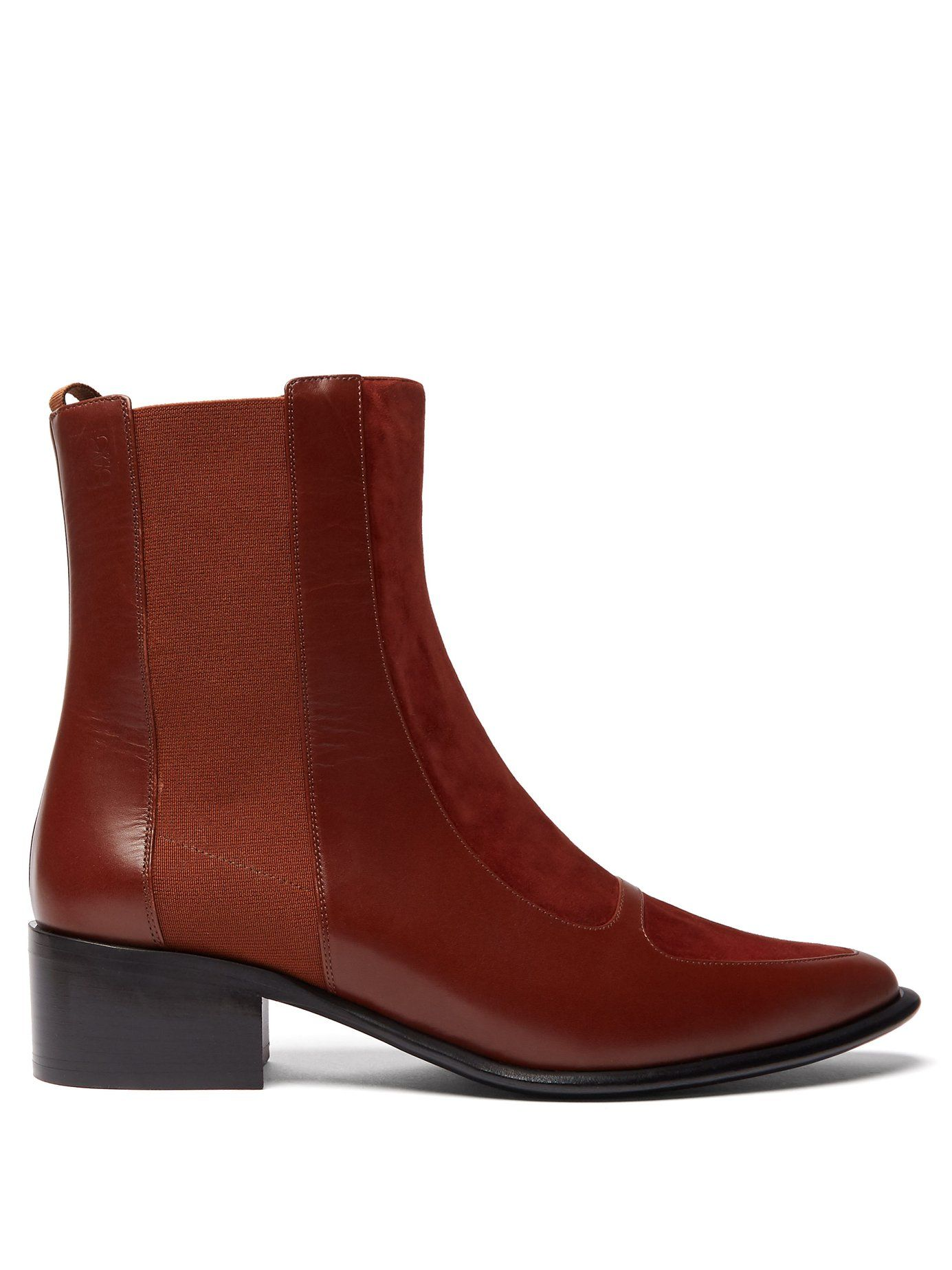 8433da4df LOEWE POINT-TOE SUEDE AND LEATHER CHELSEA BOOTS