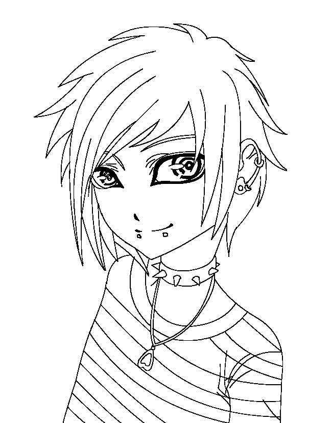 Anime Emo coloring page Coloring Related Pinterest