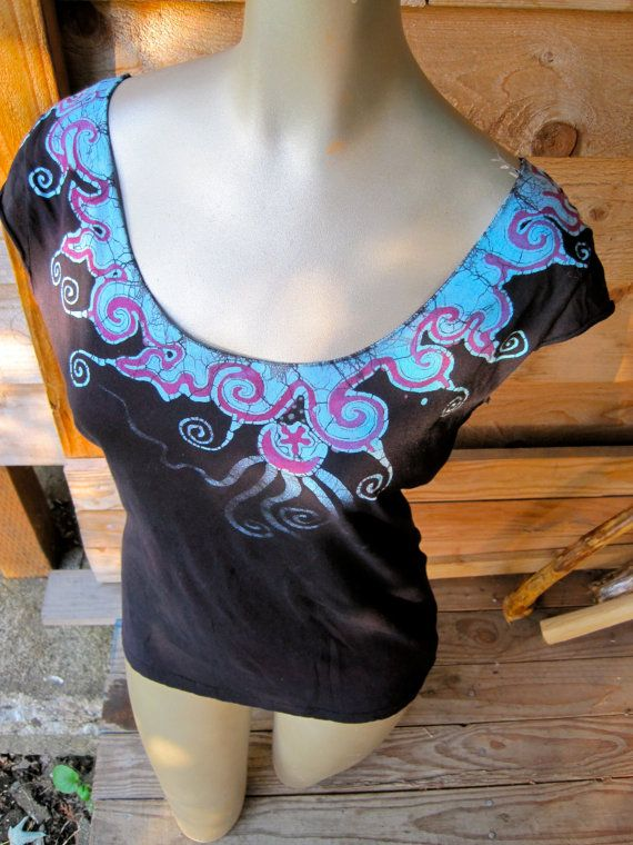 Midnight Turquoise Batik Necklace Top - size XL only