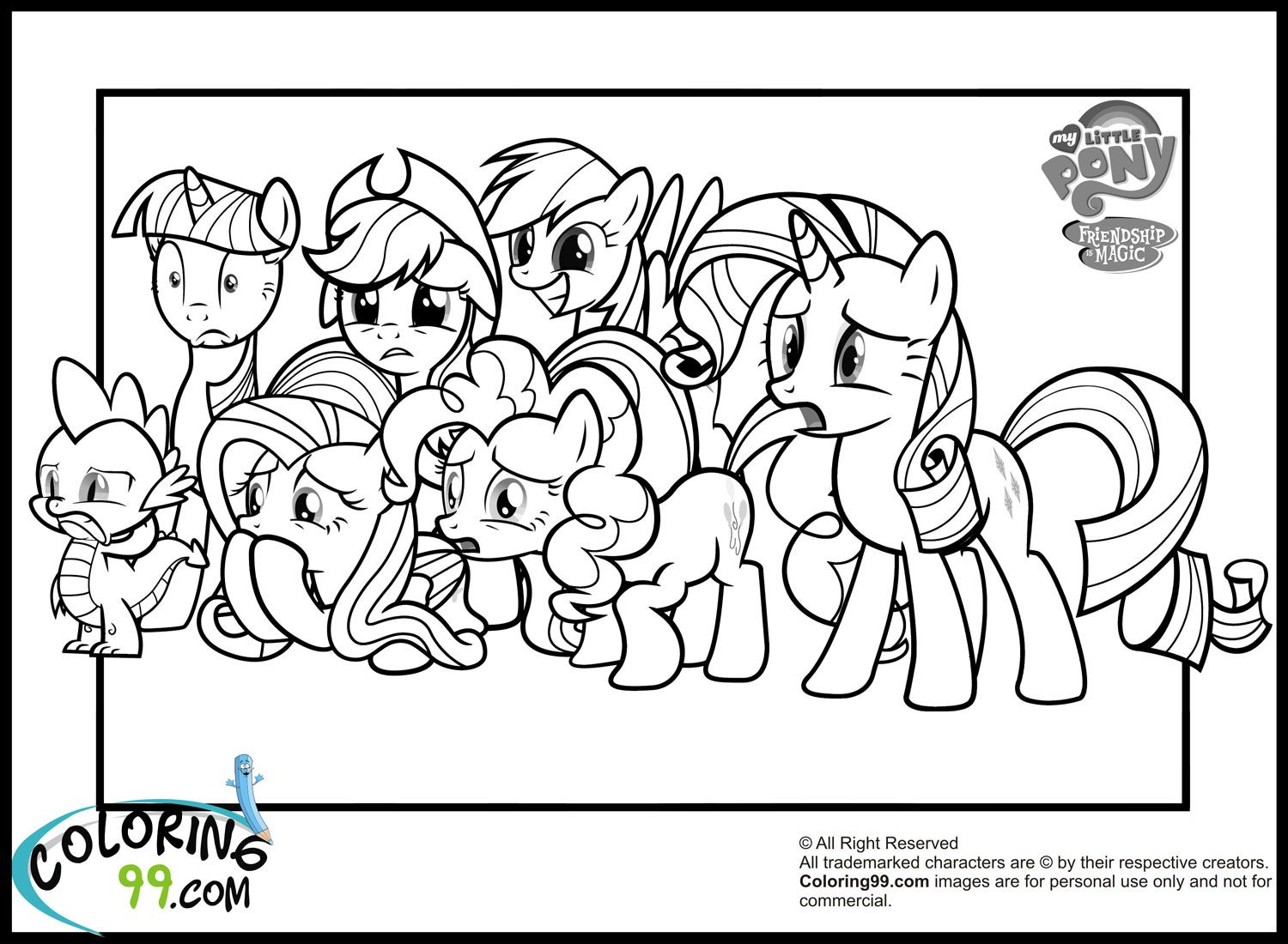 all the ponies colouring for the girls pinterest pony