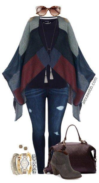 34ddae79e55 Plus Size Color Blocked Poncho Outfit - Plus Size Fashion for Women - Alexa  Webb  alexawebb