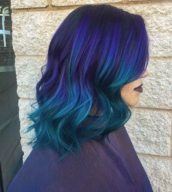 Dark Purple Hair to Blue and Teal Ombre
