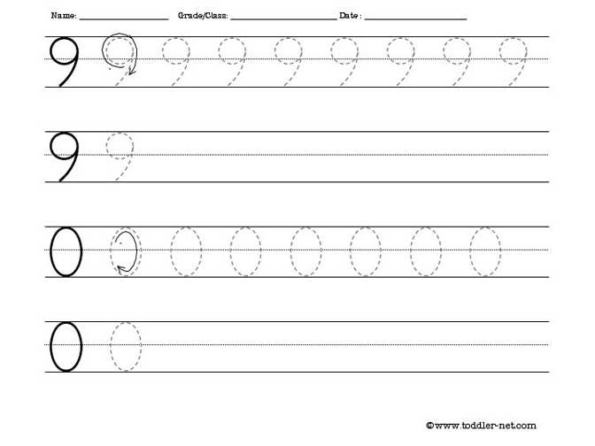 tracing numbers 9 and 0 worksheet – Tracing Numbers Worksheets
