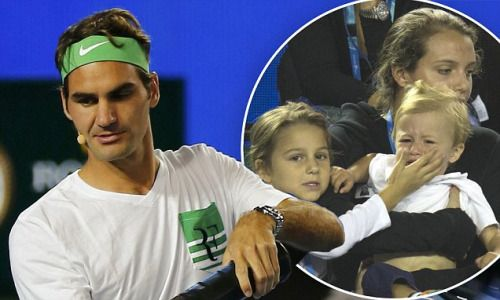 Roger and Mirka Federer's son cries during Australian Open... #RogerFederer: Roger and Mirka Federer's son cries during… #RogerFederer