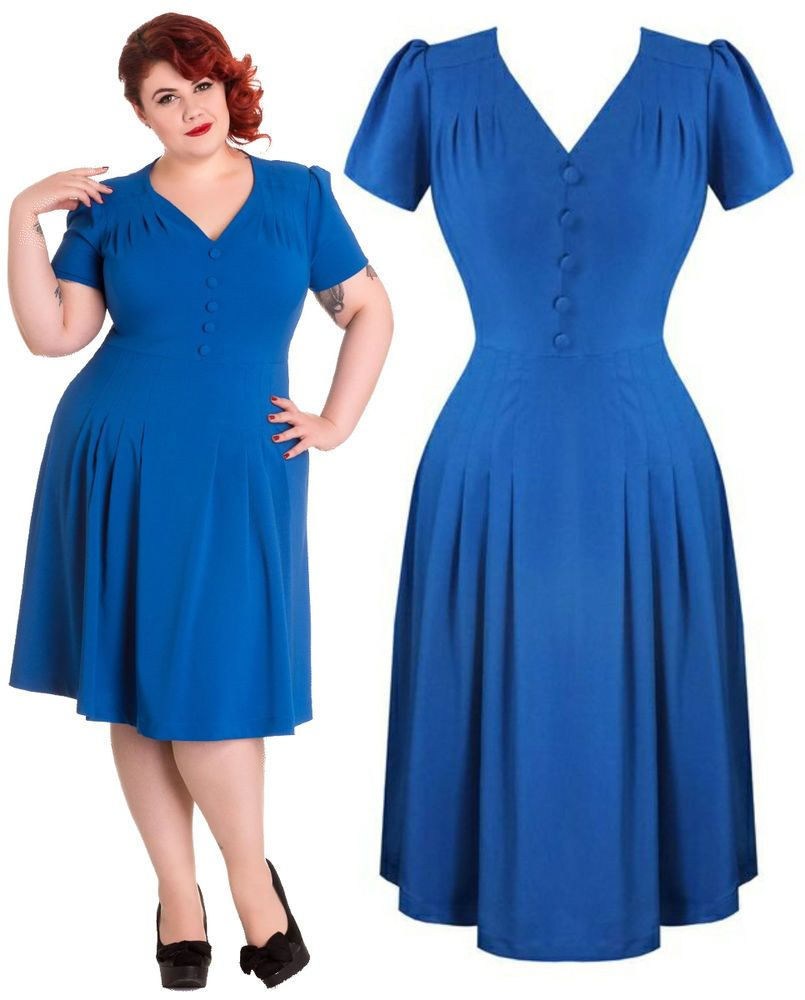 Hell bunny moira colbalt blue wartime s vintage dress plus