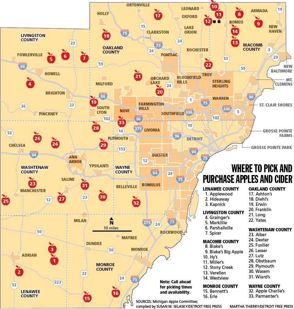 Southeastern Michigan Map.Guide To Southeast Michigan Apple Orchards And Cider Mills