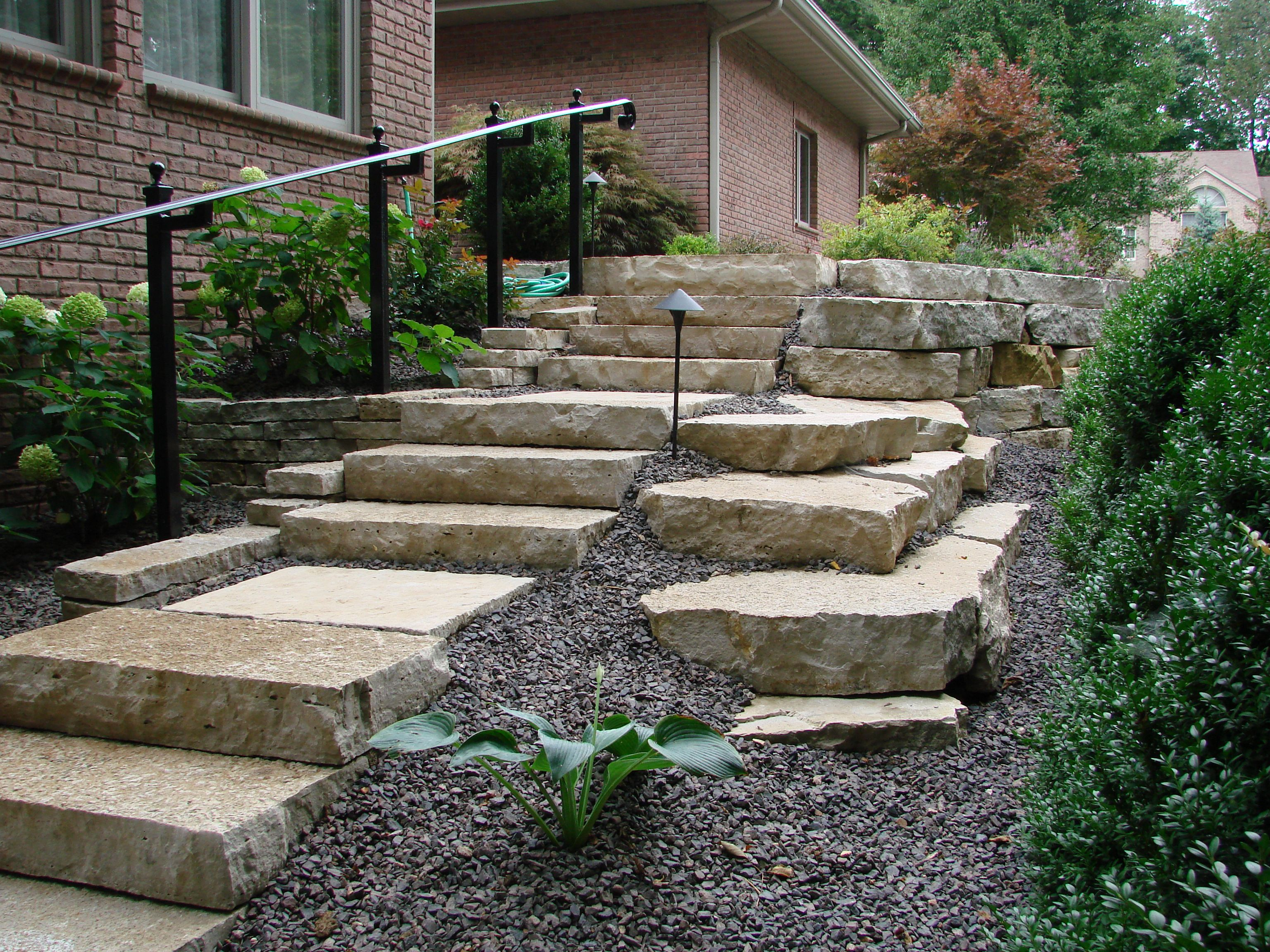 Outcropping Stone Steps With Railing Landscape Stairs Landscape Stone Stone Step | Installing Railing On Stone Steps