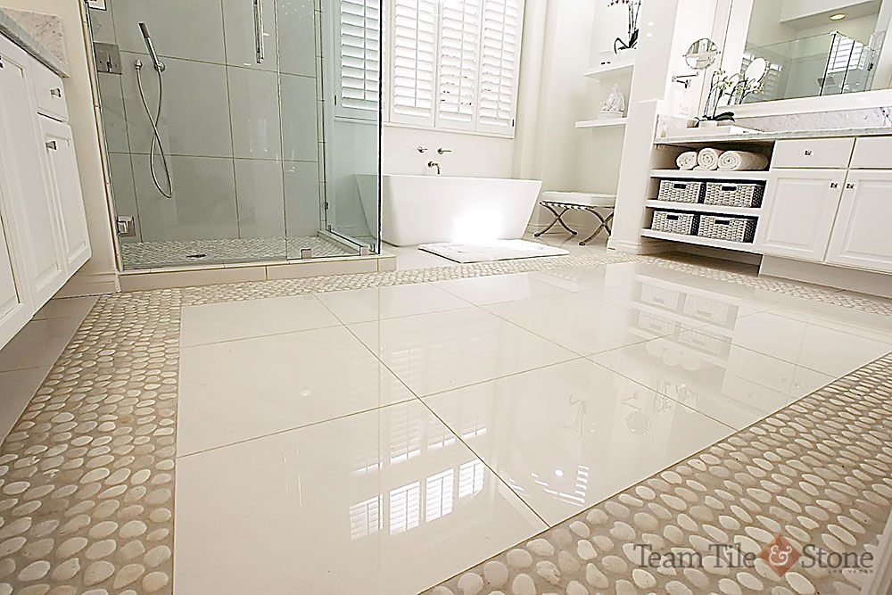 Install Ceramic Tile Over An Old Vinyl Floor And Prepare For A Dramatic Facelift For Your Bathroom Marble Bathroom Floor Vinyl Flooring Bathroom Vinyl Flooring