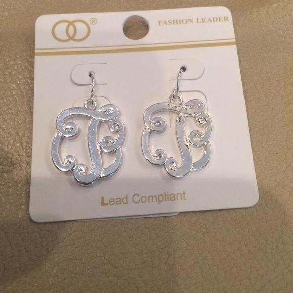 Monogram T earrings silver Silver monogram T earrings Fashion earrings Jewelry Earrings