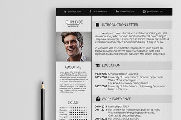 Elegant Resume  Resume Templates On Creative Market  Creative